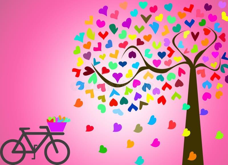 Ami nel paesaggio romatic con l'albero variopinto e vada in bicicletta sulla b rosa illustrazione di stock