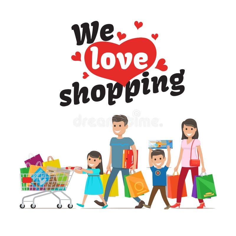 Amiamo il concetto di compera e la famiglia con gli acquisti illustrazione di stock