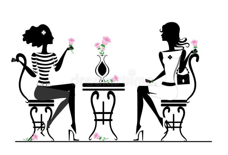 Amica in caffè royalty illustrazione gratis