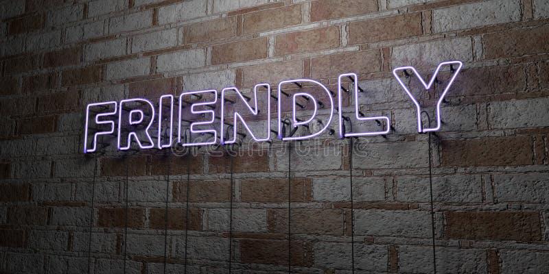 AMICAL - Enseigne au néon rougeoyant sur le mur de maçonnerie - 3D a rendu l'illustration courante gratuite de redevance illustration libre de droits