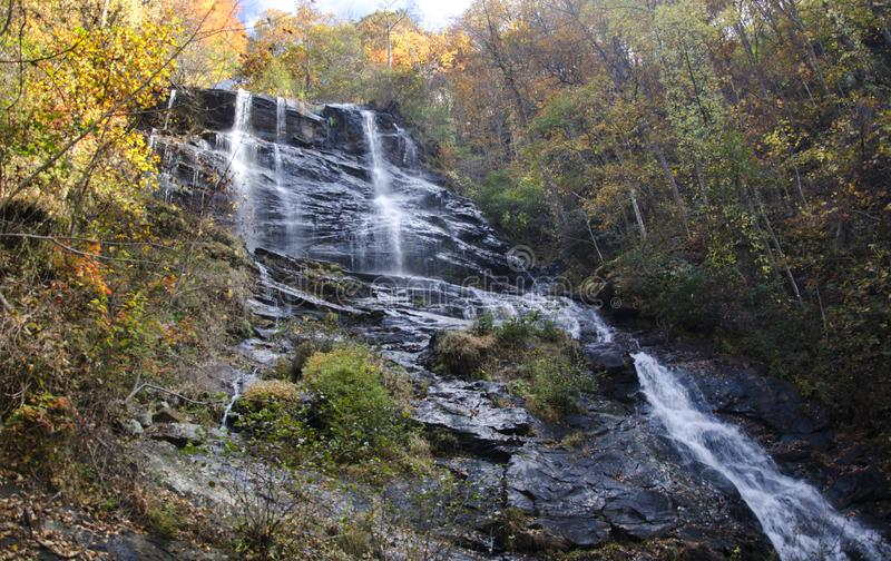 Amicalola Falls Waterfall, Georgia State Park. Amicalola Falls State Park Lodge is a Georgia state park located in Dawsonville, Georgia. The highest waterfall in stock photo
