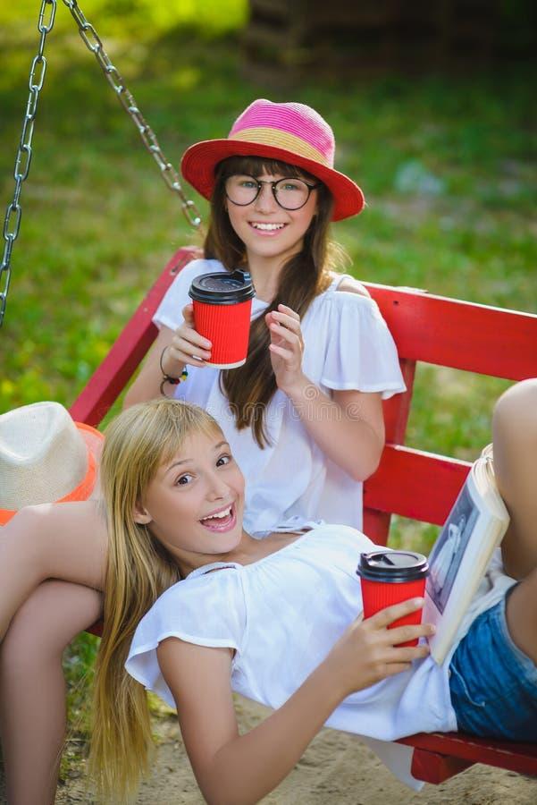 Amiche allegre divertendosi sull'oscillazione all'aperto Concetto di amicizia immagine stock