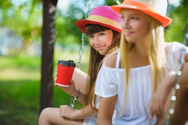 Amiche allegre divertendosi sull'oscillazione all'aperto Concetto di amicizia immagine stock libera da diritti