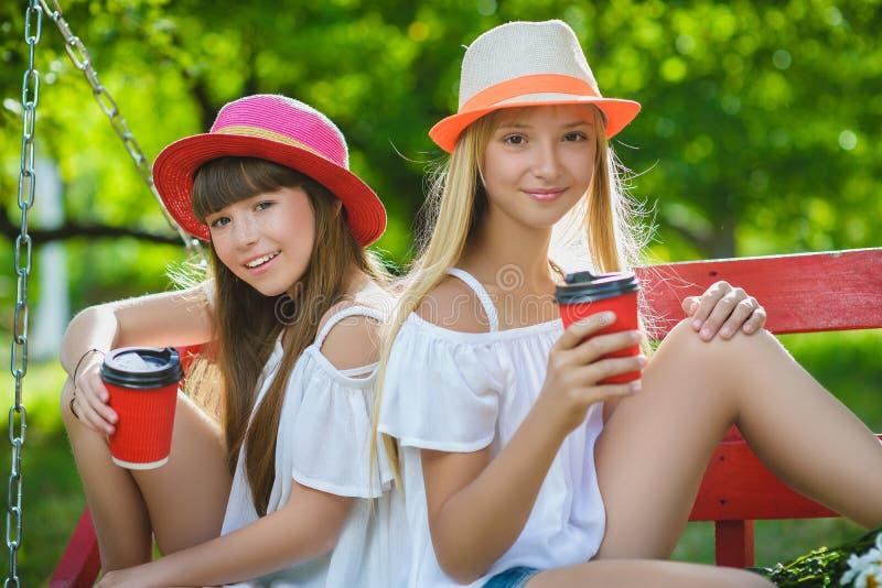 Amiche allegre divertendosi sull'oscillazione all'aperto Concetto di amicizia immagini stock