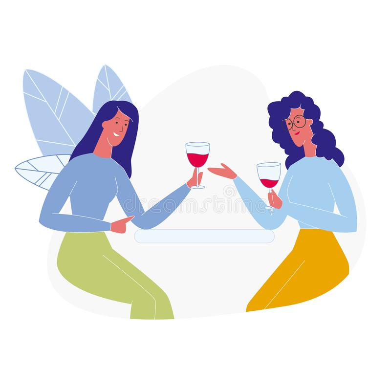Amiche che bevono l'illustrazione piana del vino rosso illustrazione di stock