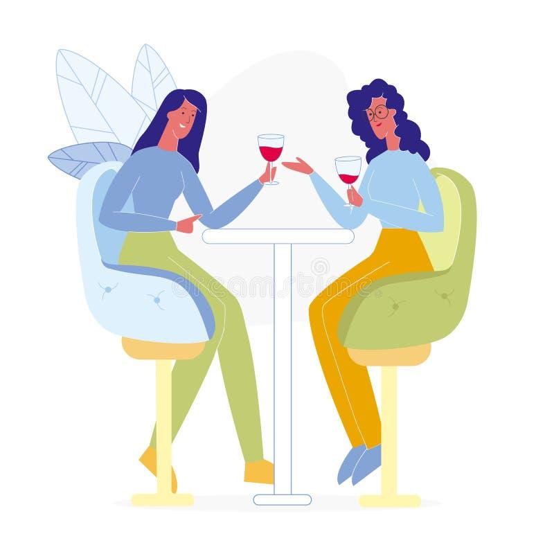 Amiche che bevono nell'illustrazione piana di Antivari illustrazione vettoriale