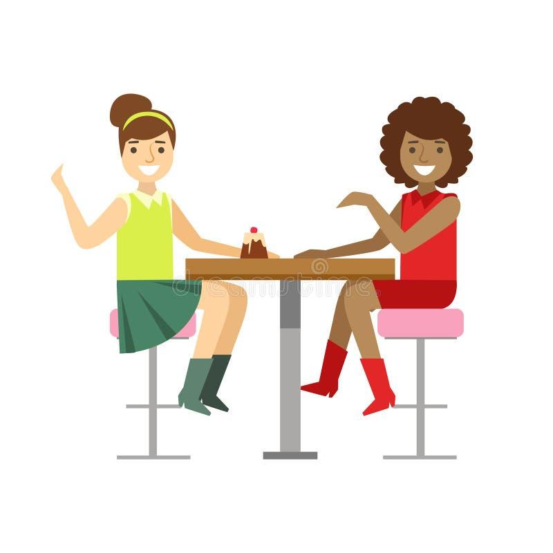 Amiche che chiacchierano dividendo un dolce, Person Having sorridente un dessert nell'illustrazione dolce di vettore del caffè de illustrazione vettoriale
