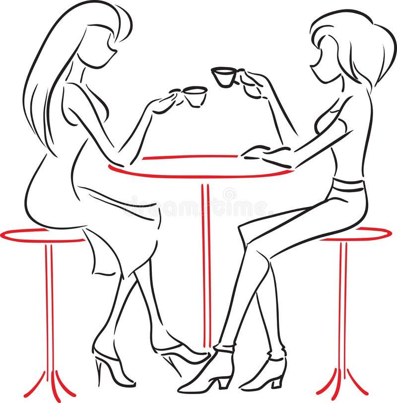 Amiche che parlano in caffè royalty illustrazione gratis
