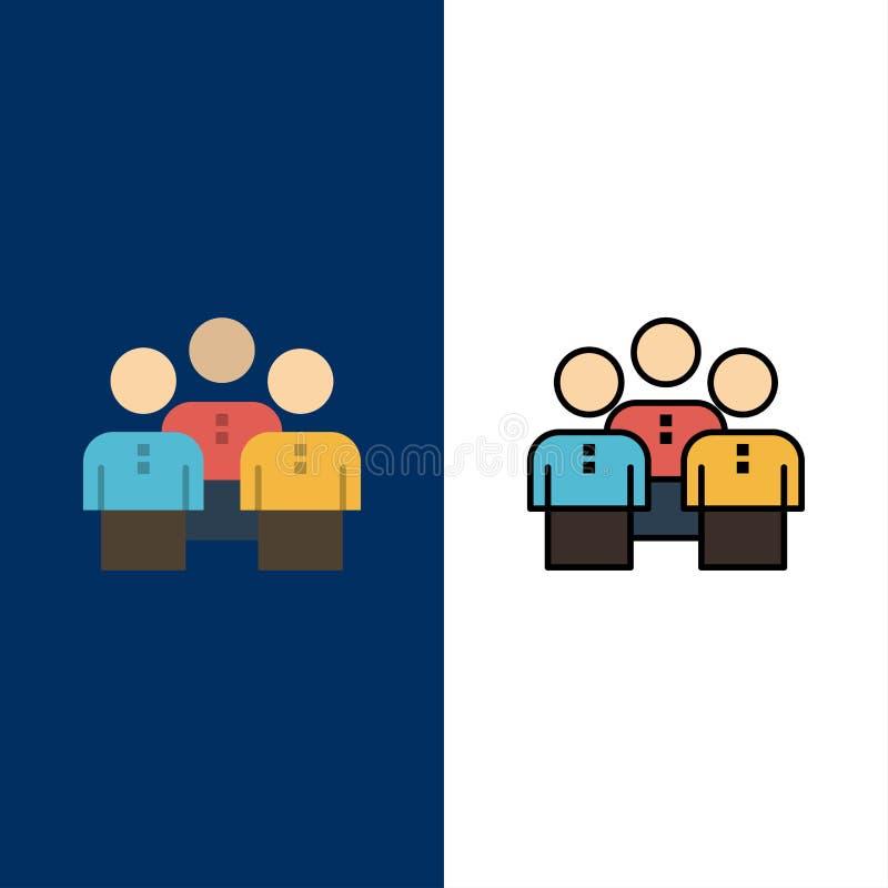 Amici, affare, gruppo, la gente, protezione, gruppo, icone di gruppo di lavoro Il piano e la linea icona riempita hanno messo il  illustrazione di stock