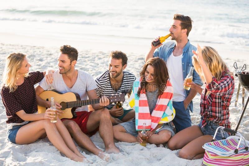 Amici che bevono birra alla spiaggia fotografia stock libera da diritti