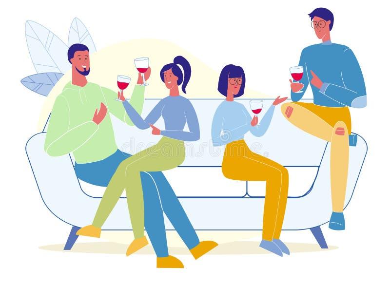 Amici che bevono l'illustrazione piana di vettore del vino rosso illustrazione di stock