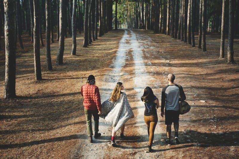 Amici che camminano all'aperto Forest Concept immagini stock libere da diritti