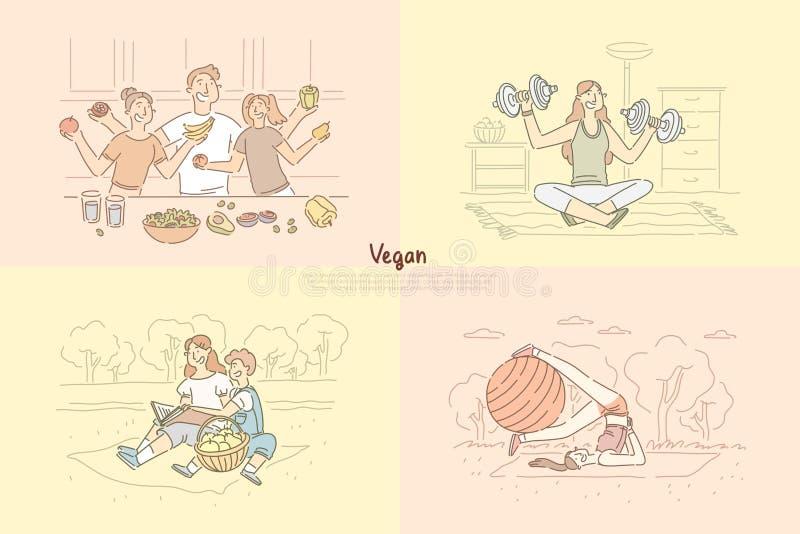 Amici che cucinano pasto vegetariano, pilates di pratica sulla natura, bambini sul picnic, signora della donna che risolve insegn illustrazione di stock