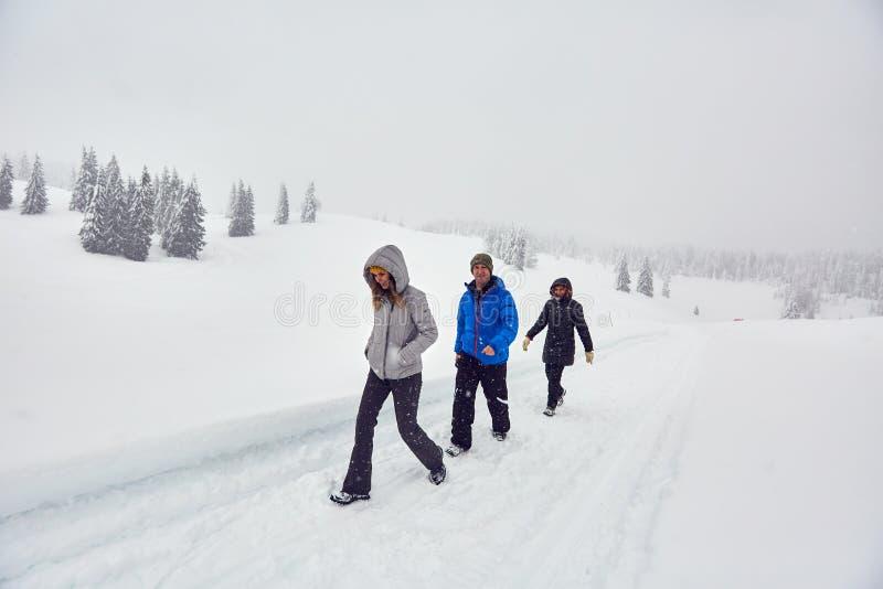 Amici che fanno un'escursione su una traccia nevosa fotografia stock