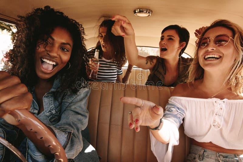 Amici che hanno lotti di divertimento sul viaggio stradale immagini stock