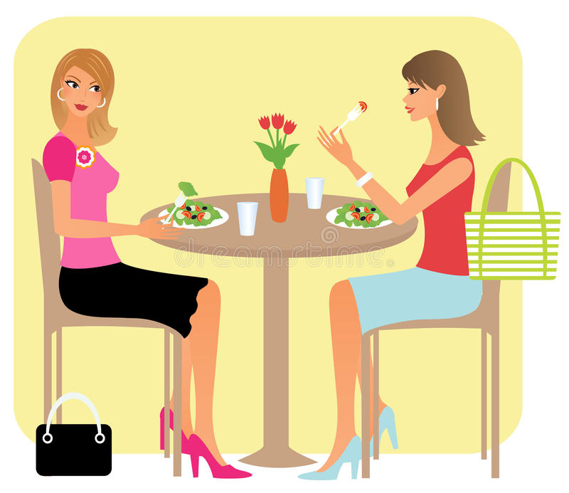 Amici che hanno pranzo royalty illustrazione gratis