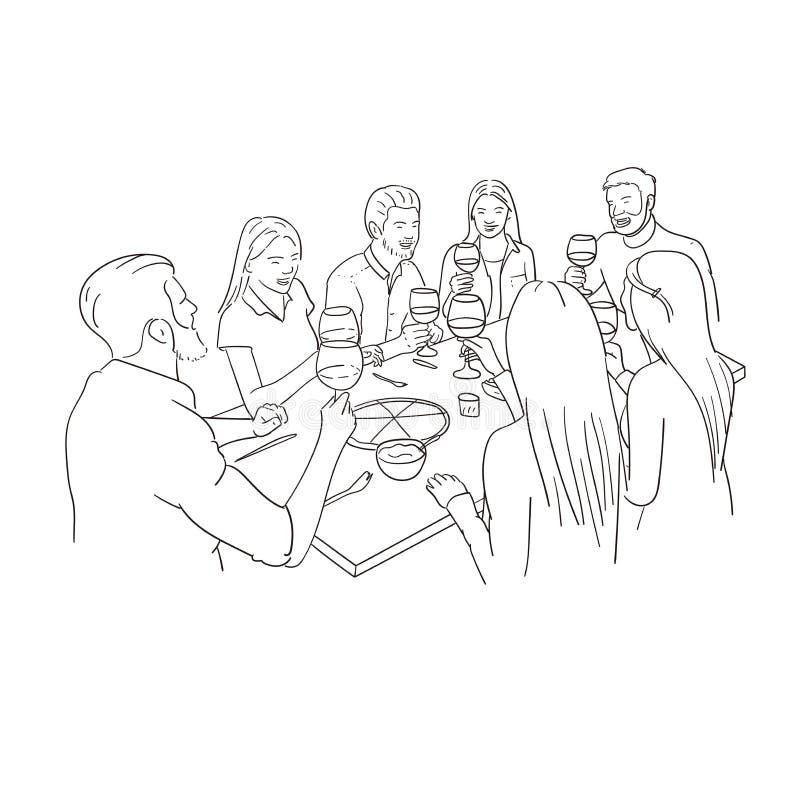 Amici che hanno pranzo Fondo bianco attingente fatto a mano immagine stock