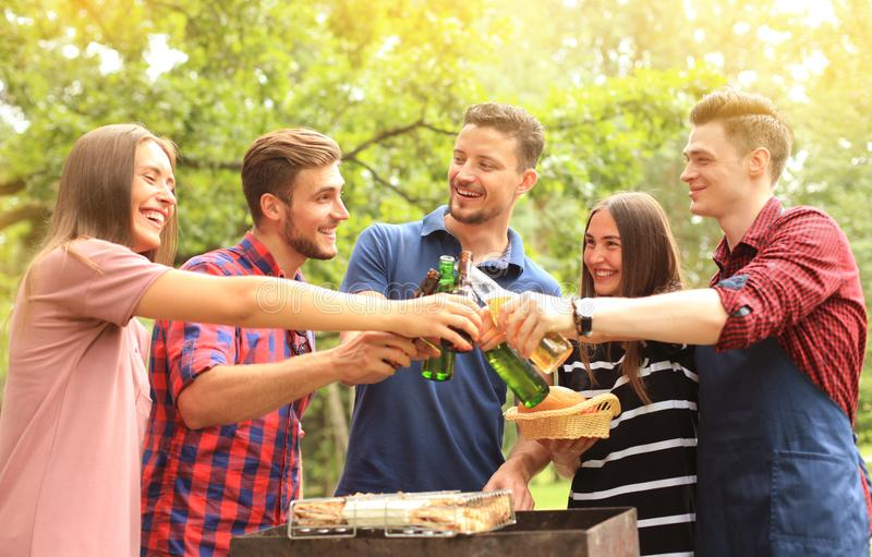 Amici che tostano birra al barbecue in natura fotografia stock