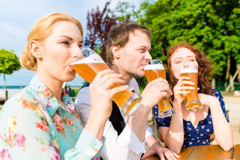 Amici che tostano con la birra nel ristorante del giardino fotografie stock