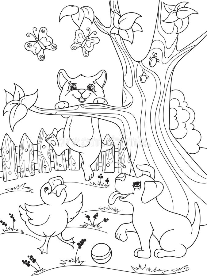 Amici degli animali del fumetto della coloritura dei bambini in natura Anatroccolo, cucciolo e gattino Anatra, cane e gatto illustrazione vettoriale