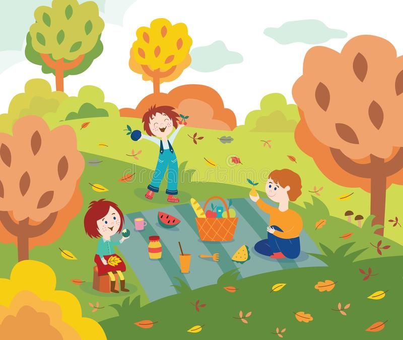 Amici dei bambini al picnic all'aperto nel parco o nel giardino di autunno con le foglie variopinte dell'albero illustrazione di stock