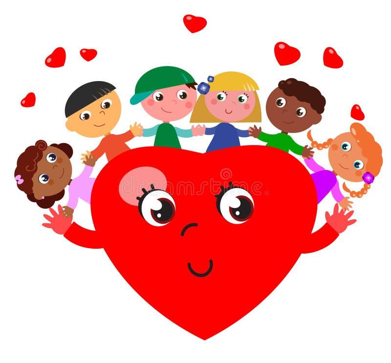 Amici dei bambini e cuore sveglio fotografia stock