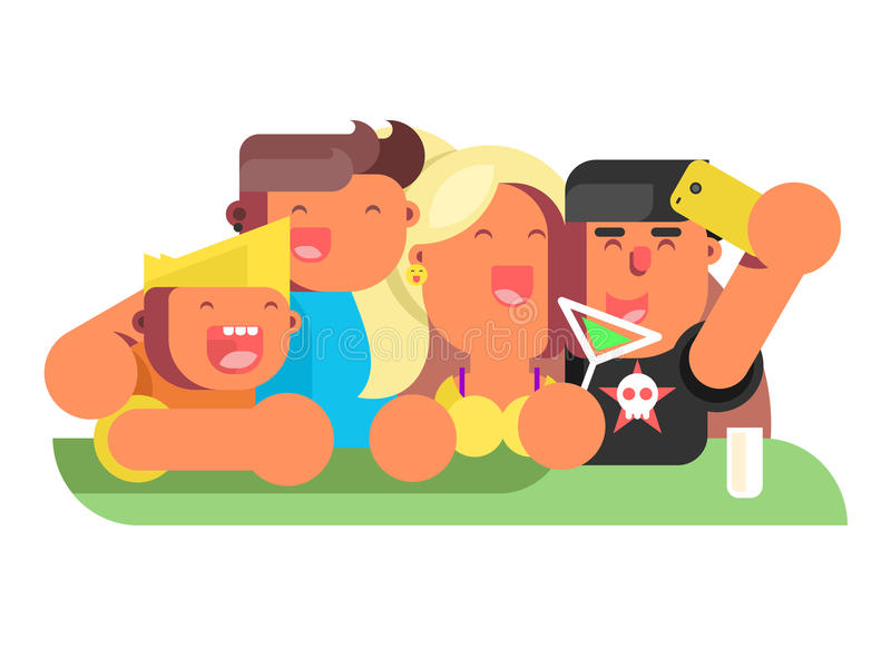 Amici del gruppo in night-club royalty illustrazione gratis