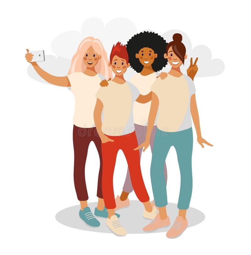 Amici di adolescente che prendono selfie sul telefono della macchina fotografica illustrazione vettoriale