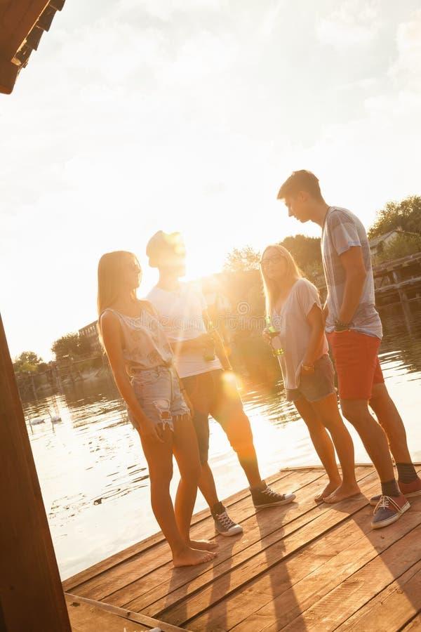 Amici divertendosi vicino al lago fotografie stock libere da diritti
