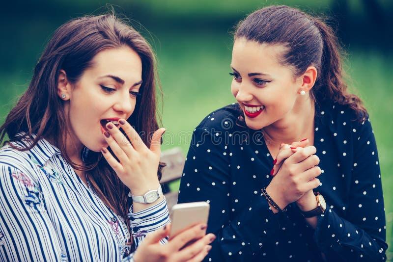 Amici euforici che guardano i video su uno smartphone e che indicano allo schermo sorpreso immagine stock libera da diritti