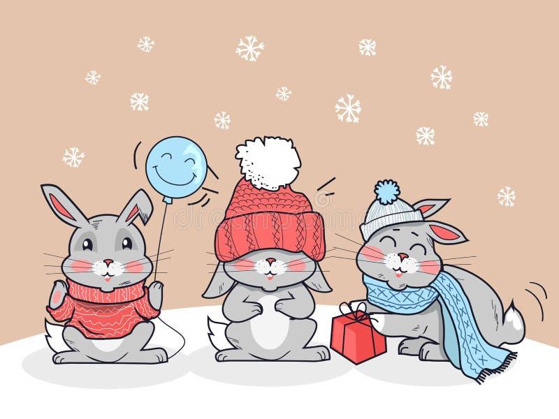 Amici felici del fumetto di inverno Tre piccoli conigli illustrazione vettoriale