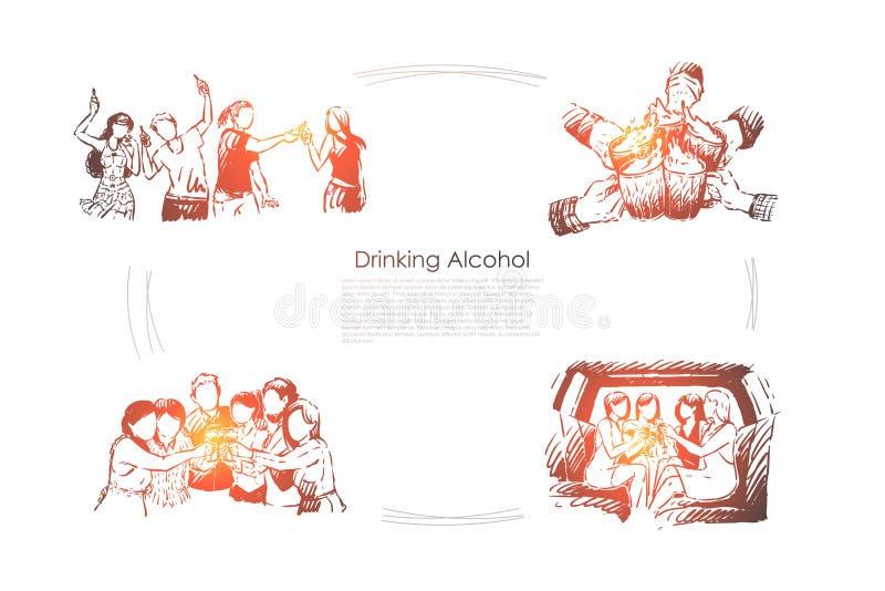 Amici felici divertendosi nella barra, mani che tengono i vetri di birra, ricreazione adulta, svago, passatempo, facente festa in illustrazione di stock