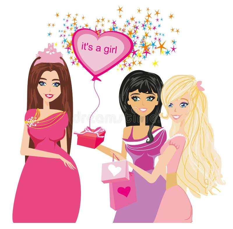 Amici femminili che si incontrano per la doccia di bambino illustrazione di stock