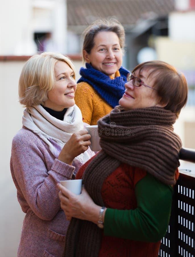 Amici femminili sul terrazzo di estate immagini stock