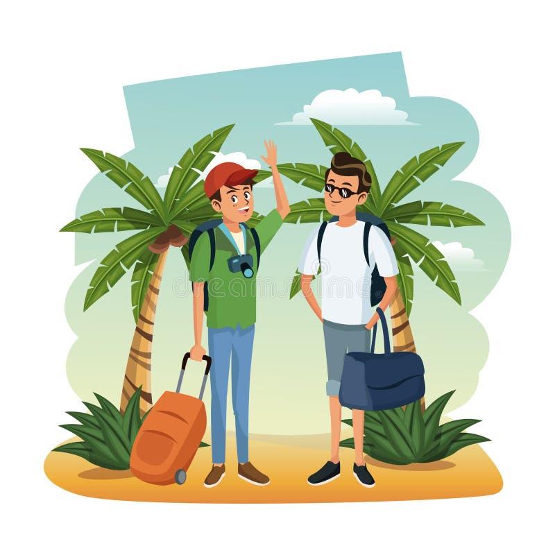 Amici maschii alla spiaggia illustrazione di stock