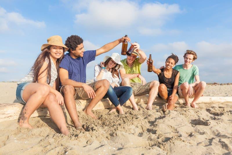Amici multirazziali alla spiaggia fotografia stock libera da diritti