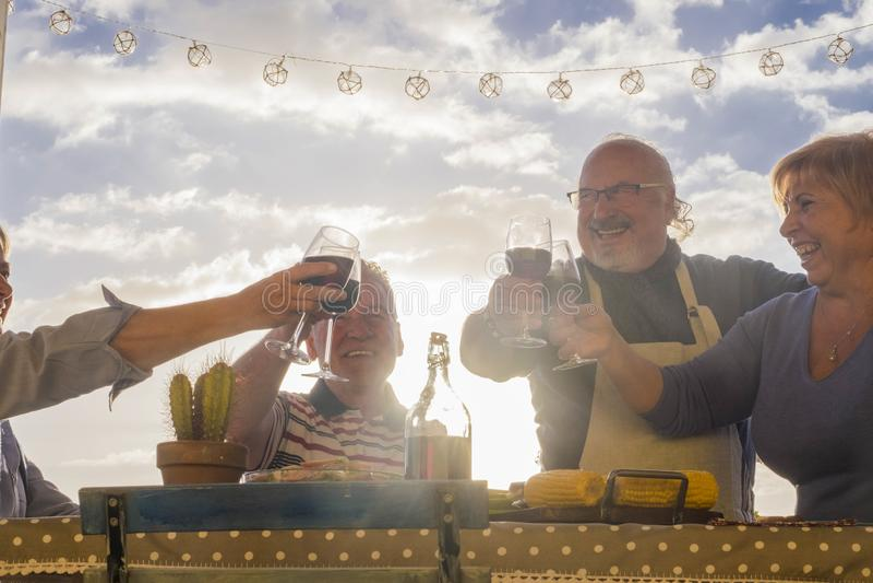 Amici pensionati invecchiati che hanno acclamazioni con vino all'aperto immagine stock