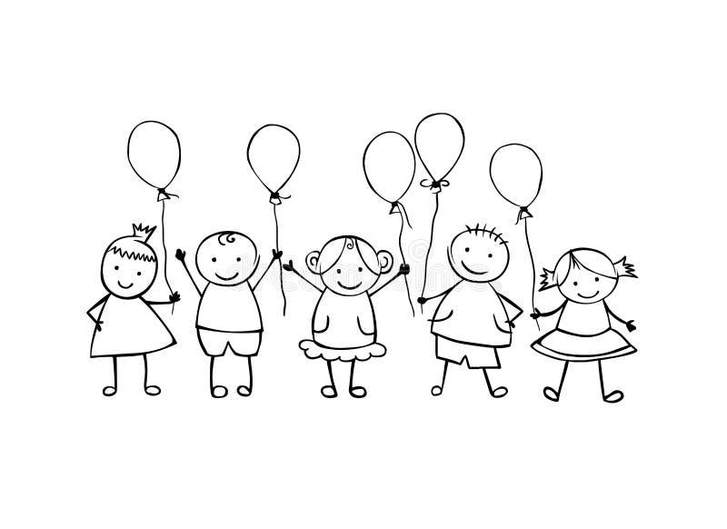 amici Ragazzi e ragazze Piccolo la gente nello stile lineare royalty illustrazione gratis