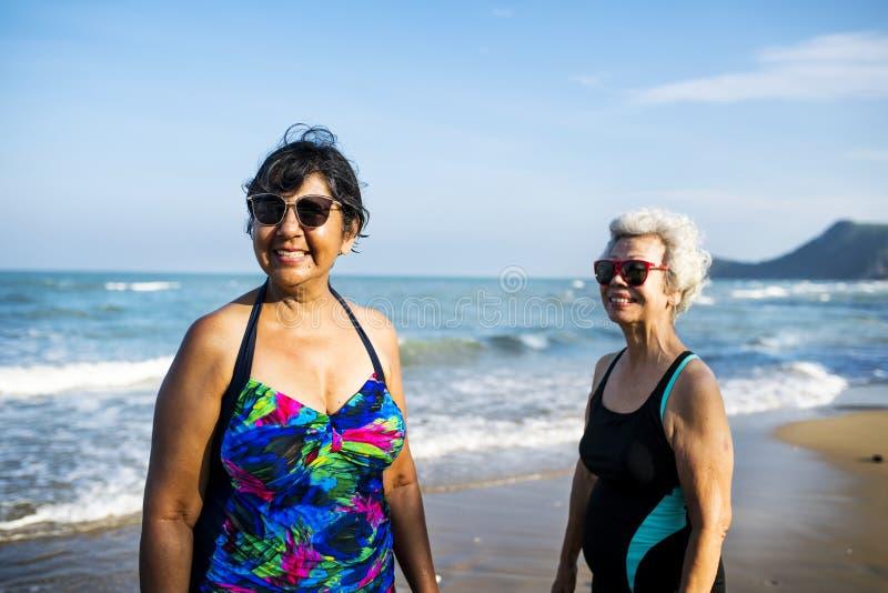 Amici senior che raffreddano sulla spiaggia immagine stock libera da diritti