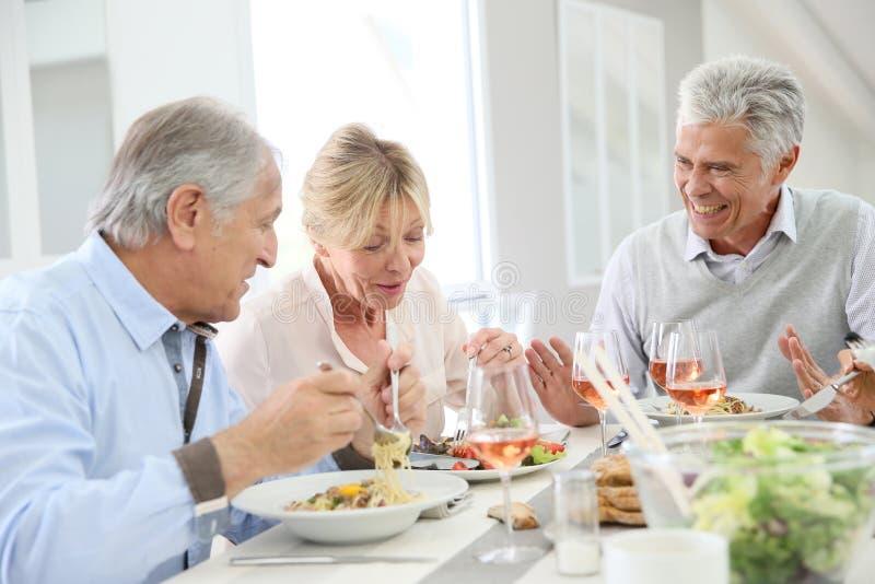 Amici senior pranzando a casa fotografia stock libera da diritti