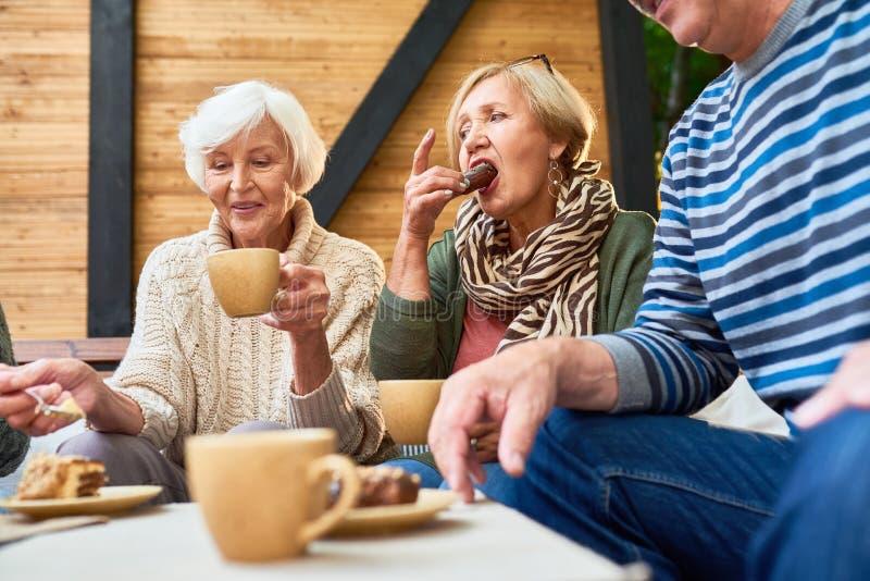Amici senior a pranzo all'aperto fotografia stock