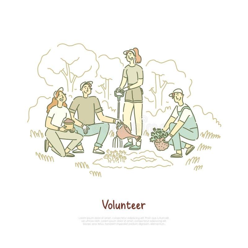Amici, volontari che piantano la piantina dell'albero, uomini e donne che lavorano insieme, aiuto della comunità, insegna di atti royalty illustrazione gratis