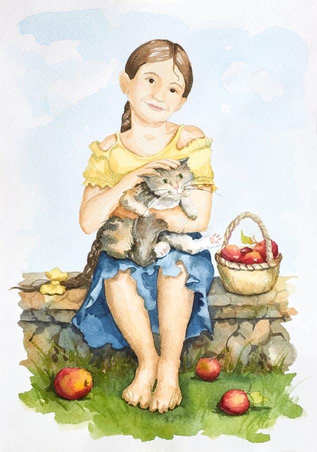 Amicizia di una ragazza e di un gatto royalty illustrazione gratis