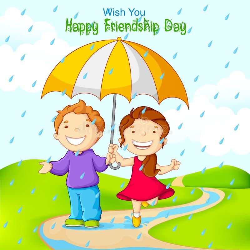 Amico che celebra giorno di amicizia in pioggia royalty illustrazione gratis