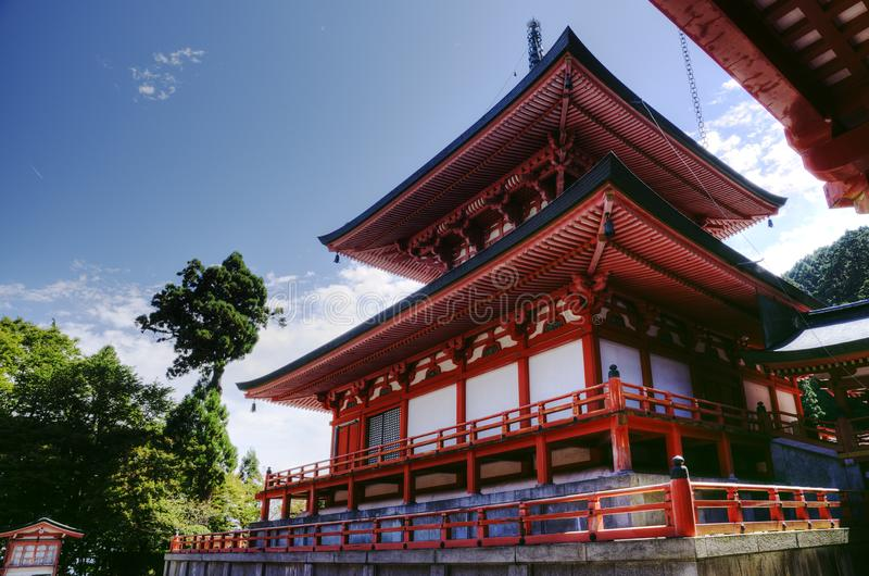 Enryaku-ji monastery with Amida temple, Kyoto, Japan. Amida-do hall and temple  in Enryaku-ji monastery at Mt. Hiei which is part of the UNESCO World Hege Site stock photos