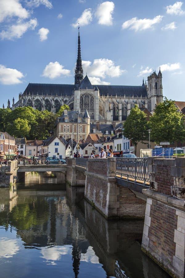 Amiens domkyrka - Frankrike arkivbilder