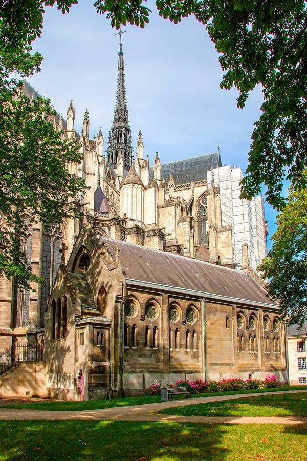 amiens domkyrka gotisk arkitekturfransman royaltyfri bild