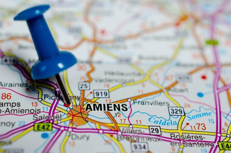 Amiens op kaart royalty-vrije stock fotografie