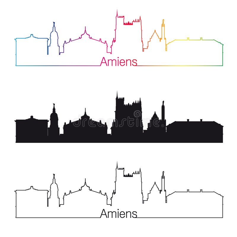 Amiens skyline linear style with rainbow. In editable vector file royalty free illustration