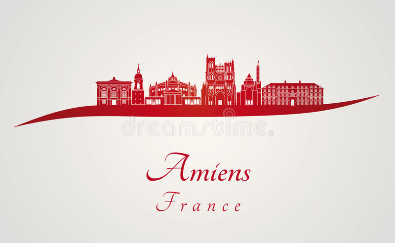 Amiens skyline in red. And gray background in editable vector file royalty free illustration
